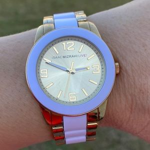 Isaac Mizrah Live! Gold and white link watch